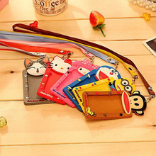 YIYOHI Cartoon Totoro Hello Kitty Bank Credit Card Holders Unisex Silicone Neck Strap Card Bus ID Holders Identity Badge Lanyard