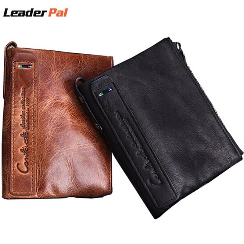 Dollar Price Genuine Leather Men Wallets Male Short Coin Purse Small Vintage Wallet Luxury Designer Double Zippper Mini Wallet<br><br>Aliexpress