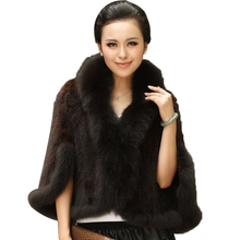 Women's Winter Coats Genuine Knitted Mink Fur Shawls With Fox Fur Collar Pashmina Capes Bat Sleeve Wraps New Outerwear Coats(China)