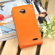 Promotional Price Genuine Leather Phone Case for JiaYu G3 Cell Phone Flip Case Cover Black and Orange Color Free Shipping