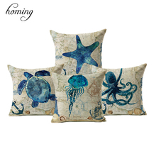 homing Marine Sea Horse Turtles Octopus Pattern Throw Pillow Case On Couch Blue Ocean Animal Linen Comfortable Cushion Cover