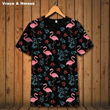 Buy Flamingo printing hip hop loose unisex short sleeve t-shirt Summer 2017 New fashion casual breathable t shirt men S-3XL for $24.99 in AliExpress store