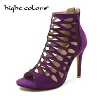 2018 New Fashion Gladiator Sandals Women High Heels Sexy Stilettos Pumps  Hollow Out Ankle Boots For Summer Shoes Big Size 43 32542e592e7c