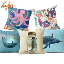 Hyha Creative Marine life Cushion Cover Humpback Whale Mermaid Octopus Personality Cartoon Decorative Cushion Covers for Sofa