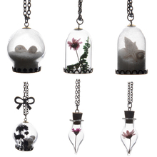 Handmade Wish Glass Bottle Dried Flower Pendant Necklace Silver Plated Chain Time Choker Women Summer Fashion jewelry Best Gift