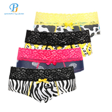 Buy PINK HEROES 4pcs / lot Women underwear Panties Cotton Sexy Leopard Women Lingerie Lace Belt Triangle Underwear Panties Cueca