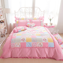 100%Cotton king queen twin size girls single double Bedding set princess style ruffles bed set bedskirt set pillowcases(China)