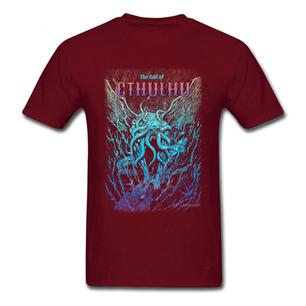 A Beast Nightmare of Cthulhu Design T-shirts for Men Cotton Fabric Autumn Tees Tee Shirt Short Sleeve Hot Sale Round Collar A Beast Nightmare of Cthulhu maroon