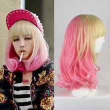 Fashion Sexy Synthetic Korea Style Medium Blonde Pink Hair With Neat Bangs Harajuku Lolita Wig Cosplay for Costume Party 14inch
