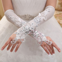 Lace white rhinestone fingerless fashion flower long women princess girl bridesmaid dancing performance gloves free shipping(China)