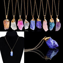 Buy LNRRABC 1PC Fashion Women Popular Irregular Shape Natural Crystal Stone Pendant Necklace Jewelry Gift 9 Colors for $1.51 in AliExpress store