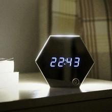 Mirror Alarm Clock USB Charging LED Table Lamp Brightness Thermometer Function Digital Clocks with LED Night Light(China)