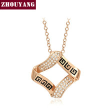 ZHOUYANG Top Quality Classic Pattern Rose Gold Color Pendant Necklace Austrian Crystal Wholesale ZYN491