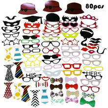 80pcs New Wedding Decor Photo Booth Props Funny mask Mustache Birthday kids game gift Party favor Supplies baby bridal shower