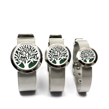 Hot Tree of life  Stainless Steel Magnet Essential Oil Diffuser Mesh Bracelet 30MM Hollow Aromatherapy Locket Bracelet