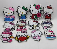P041 10pcs Mixed Hello Kitty Cartoon Embroidered Patches Iron on Garment Applique Diy Accessory kids Parches for clothing