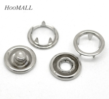 Hoomall 100 Sets Silver Tone Open Ring Snap Press Fastener Buttons Sewing Accessories 11x4mm 11mm 10mmx4mm