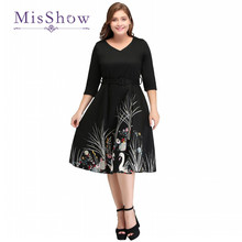 MisShow New Elegant Black Woman Clothing V-Neck Floral Print Swan Retro Casual Dresses Big Size Autumn Dress Vintage Vestido(China)