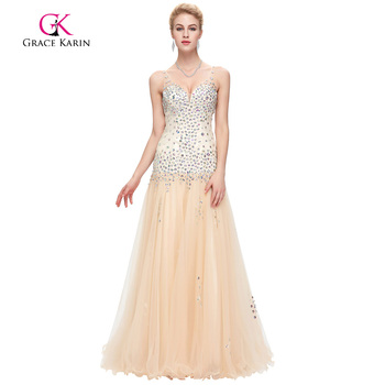 Grace karin sirena de tulle vestido de noche largo 2017 nueva llegada formal del partido vestido de lentejuelas con cuentas sin mangas de cuello v vestidos de noche
