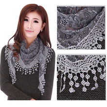 Women Fashion Triangle Wrap Lady Shawl Lace Sheer Floral Print Scarf Scarves New  Fashion Hot Sell