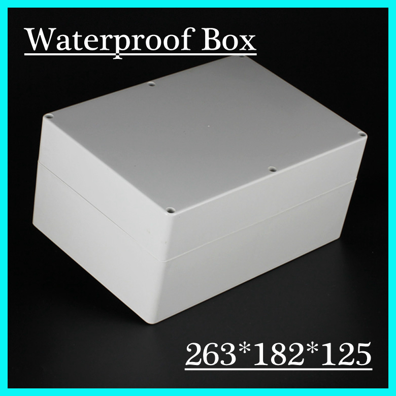 (1 piece/lot) 263*182*125mm Grey ABS Plastic IP65 Waterproof Enclosure PVC Junction Box Electronic Project Instrument Case<br>