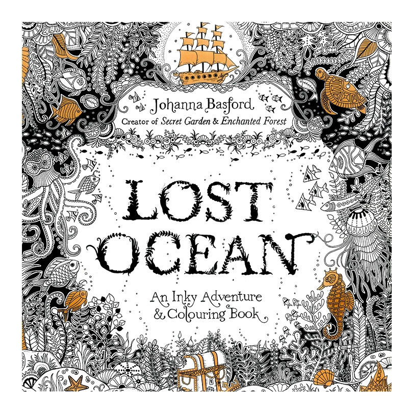 Lost Ocean Book Coloring Books for Adult Kids Painting Antistress Mandala Secret Garden Quiet Color Drawing 18.5*18.5cm 24Pages(China)