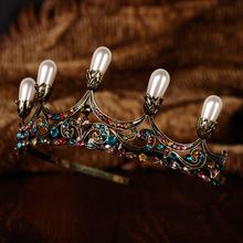 European and American Bride headdress jewelry wedding bride crown Baroque Ornaments Golden Crown Royal Wedding Photography(China)