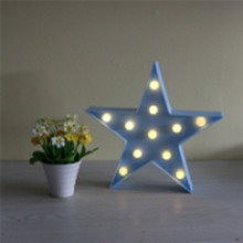 1 X Blue Star Design 3D LED Night Light Plastic Table Lamp 2AA Battery Operated Baby Room Bedside Lights Gifts For Children