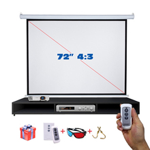 "On sale! 72"" 4:3 HD Electric Projection Screen with Remote Controller Pantalla proyector Motorized Projector Screen(China)"