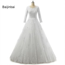 Buy Baijinbai Custom Vestido de noiva Beading Lace Ball Gown Wedding Dresses Full Sleeves New Real Photo Bridal Gowns S121903 for $122.85 in AliExpress store