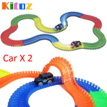 Kitoz 220pcs Racing Car Track Slot Toy Glow In Dark Colorful Buildable Assembly Racetrack Court with Led Car Bend Flex Twist