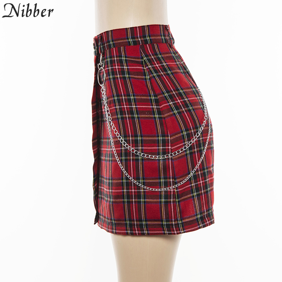 Nibber spring Vintage red Plaid mini skirts Women 19 summer fashion office lady club party casual short pleated skirts mujer 12