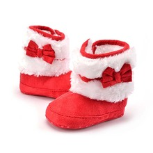 Red Pink Fleece Lined Baby Christmas Boots Shoes Infant First Walker Winter Warm Anti-Slip Indoor Boots for Boy Girls New Years