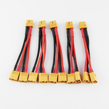 5pcs Xt60 Parallel Battery Connector Cable Dual Extension Y Splitter 14awg 10cm Silicone Wire for FPV RC