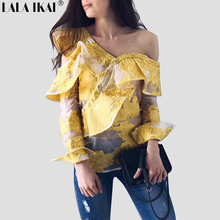 2017 Summer Blouse Shirts Women Long Sleeve Asymmetric Neckline Frill Shirts Ladies Ruffle One Shoulder Top Blusa Mujer SWC0271(China)