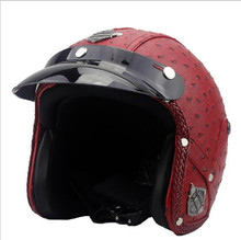 red leather Open Moto Motorcycle Helmet Visor Vintage Open Face Motocross Scooter Leather Half Helmet Motorcycle Moto For Vespa(China)