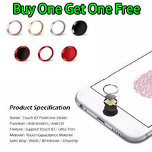 For iPhone 5S SE 6 6S 6Plus 7 7Plus PlusAluminum Touch ID Home Button Sticker with Fingerprint Identification Function
