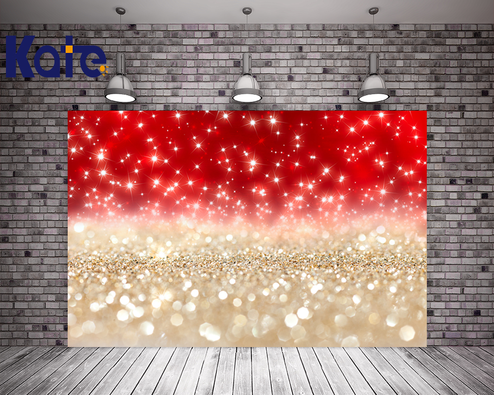 3X6M Kate Digital Printing Christmas Backgrounds For Photo Studio Red Gold Background For Children Photo Backdrops<br>
