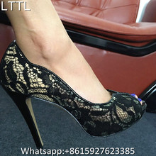 Celebrity Fashion Brand Shoes Women Sexy Black Lace Dress Shoes Wedding Pumps Peep Toe Evening Party High Heel Ladies Shoes 2017