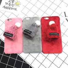 Latest Korea Lovely Plush Hat Phone Case Hard Plastic Back Cover for Iphone 6 6s 6plus 7 7plus Red Fur Cases for Christmas