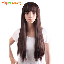 MapofBeauty black dark light brown 3 colors 70CM Lady Long Straight Fringe cosplay Wigs For Women Heat Resistant Synthetic Hair(China)