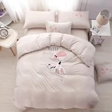 Pink Beige color Girls Printed Bedding set Queen Twin Single size Bed sheet set 100% Cotton Knitted Duvet cover Pillow shams(China)