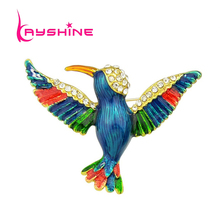New Arrival Animal Brooch Gold-Color with Rhinestone and Colorful Enamel Bird Brooches for Lady Pin Gift Jewelry