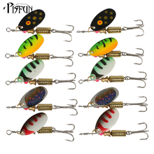 Pisfun 10pcs Spinners Spoon Fishing Lure Hard Artificial Bait Fishing Tool 5 Colors 3.5g 5.5g