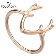 Todorova Silver Gold Ring Deer Antler Reindeer Horn Animal Ring for Women Steampunk Accessories Jewelry Cheap Items Big Discount