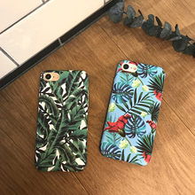 Banana Leaf Flowers Floral Plants Design Phone Case For IPhone 6 6S 7 7 Plus Hard Matte plastic full protection Phone Bags &Case