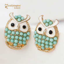 Simulated pearl owl earrings women zinc alloy gold color ladies animal stud earring blue/coral boucle d'oreille femme MDJB176