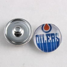 Edmonton Oilers NHL Hockey Team 18mm Glass Snap Button Jewelry Cabochons Snap Charms Fit Snap Button Bracelet Jewelry
