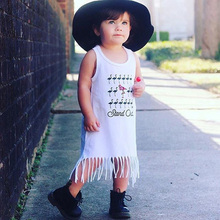 Fashion Trendy Design Toddler Kids Baby Girl Princess Clothes Sleeveless Tassel Tops T-Shirt Dress Casual Wear