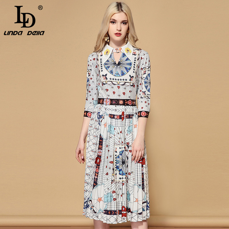 LD LINDA DELLA 2019 Spring Fashion Runway A Line Dress Women's Half Sleeve Pleated Printed Vintage Casual Mid Calf Dress vestido